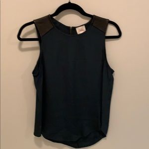 Parker top - silk and leather